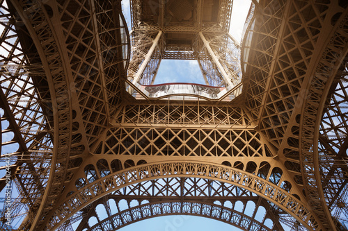 Elements of the Eiffel Tower in Paris against the blue sky - 198246477