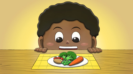 Close-up illustration of a black boy staring at vegetables on the table. © Guilherme Yukio