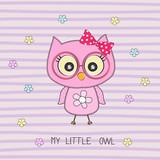Cartoon cute howlet girl and inscription my little owl.