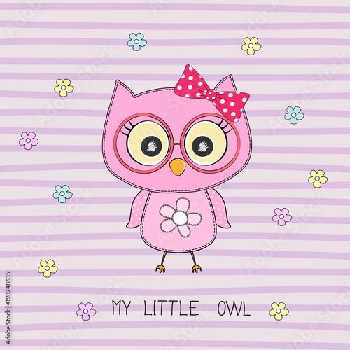 Fotobehang Uilen cartoon Cartoon cute howlet girl and inscription my little owl.