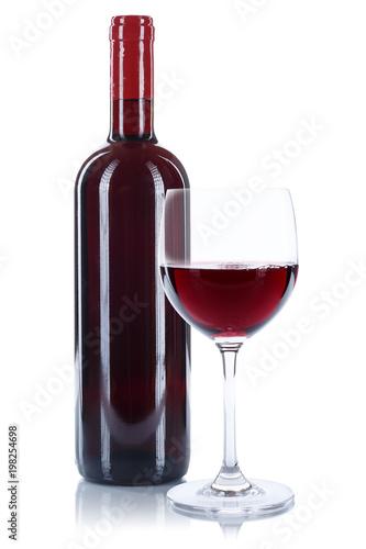 Wein Flasche Glas Weinflasche Weinglas Rotwein freigestellt Freisteller - 198254698
