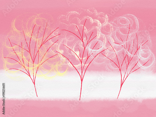 Foto op Canvas Candy roze Colorful hand drawn bright spring bloom trees on pink background, cartoon pink cherry garden illustration painted by oil color and pencil pastel chalk for wallpaper or greeting card, high quality