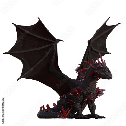 Red crystal dragon isolated on white, 3d render
