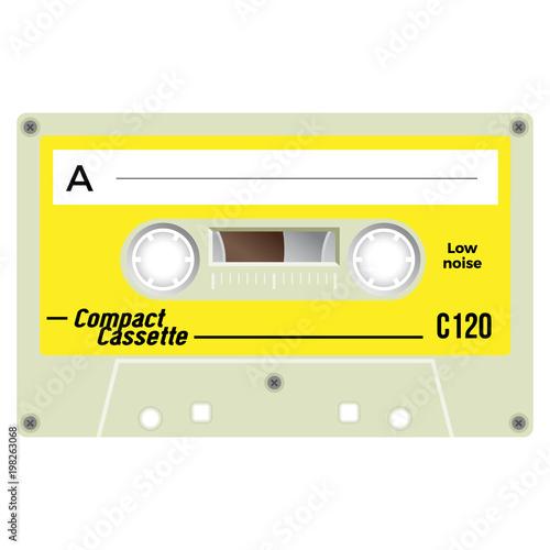 Vintage audio cassette tape design, flat illustration  | Buy
