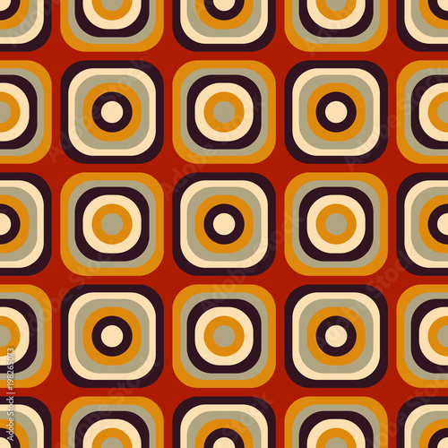 Fototapeta Vintage seventies seamless pattern. Authentic design for digital and print media.