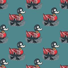 Funny duck swim seamless pattern. Original design for print or digital media.