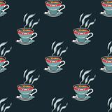 Coffee mug seamless pattern. Original design for print or digital media.