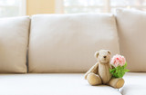 A flower amd a teddy bear in a bright interior room sofa