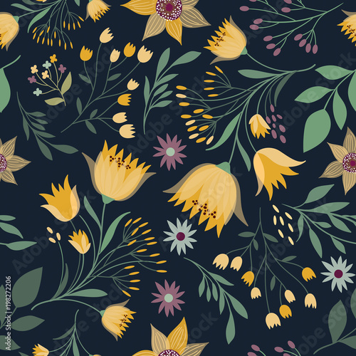Floral seamless pattern with hand drawn elements - 198272206
