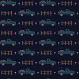 Night dark farm truck car pattern. A playful, modern, and flexible pattern for brand who has cute and fun style. Repeated pattern. Nature mood.