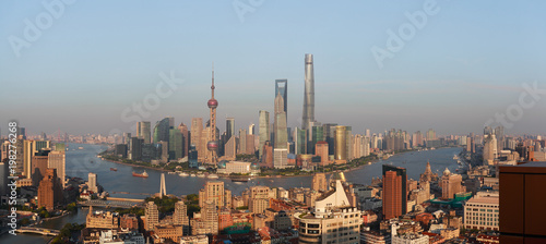 Plakat Aerial photography bird view at Shanghai bund Skyline