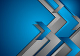 Fototapety Blue and grey tech abstract background with arrows