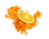 Orange fruit on ink isolated over white background - 198276463