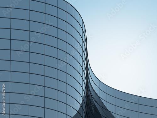 3D pobudzają budynek krzywej wysokiego wzrostu krzywej i systemu okien ciemnej stali na niebieskim tle jasnego nieba, koncepcja biznesowa przyszłej architektury, wyszukiwanie do rogu budynku narożnego.