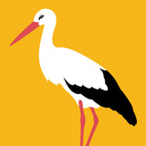 stork vector illustration flat style profile side