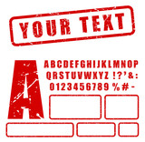 red stamp letters and numbers set - 198283684