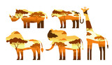 double exposure african animals lion giraffe elephant tiger rhino
