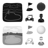Field with a hole and a flag, a golf ball, a golfer, an electric golf cart.Golf club set collection icons in black,monochrom style vector symbol stock illustration web.