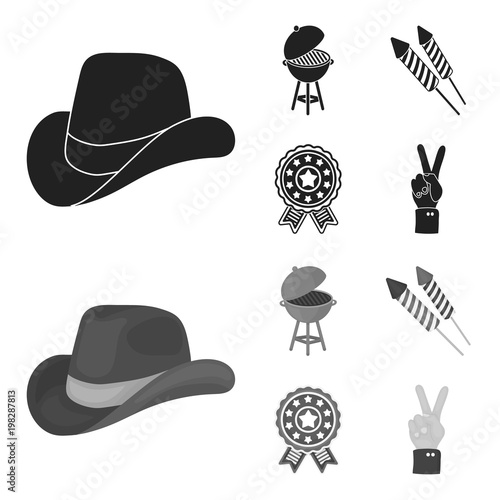 Barbecue, salute, voting ebblema, victory. The patriot day set collection icons in black,monochrom style vector symbol stock illustration web.