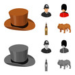 England, gentleman, hat, officer .England country set collection icons in cartoon,monochrome style vector symbol stock illustration web.