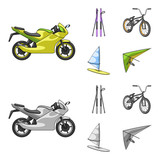 Motorcycle, mountain skiing, biking, surfing with a sail.Extreme sport set collection icons in cartoon,monochrome style vector symbol stock illustration web.
