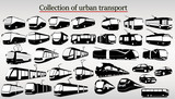 Set of urban transport including train, tram, bus and taxi