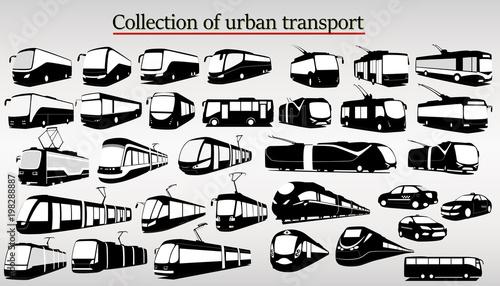 Fototapeta Set of urban transport including train, tram, bus and taxi