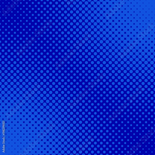 Blue retro halftone dot pattern background - abstract vector graphic from circles in varying sizes