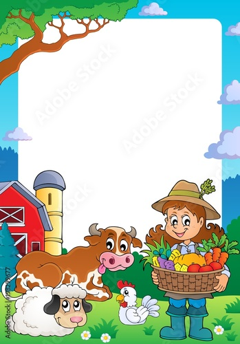 Poster Voor kinderen Frame with woman farmer and animals