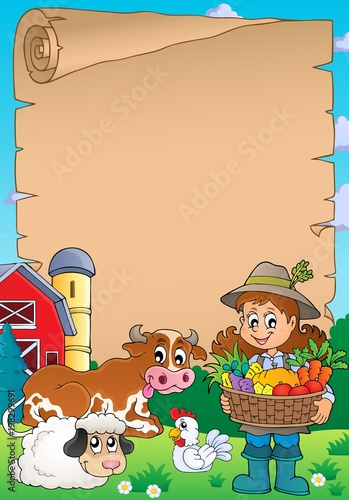Foto op Plexiglas Voor kinderen Parchment with woman farmer and animals