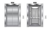 Elevator doors. Metal closed and open doors - 198300602