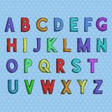 Font. Colored hand drawn alphabet