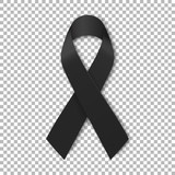 Black mourning ribbon on transparent background. Vector illustration - 198303270
