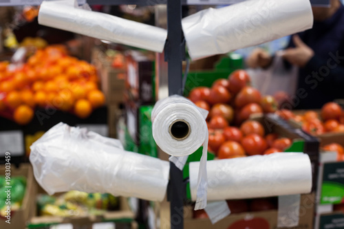 Plastic bags in a supermarket.