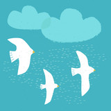 3 vector Birds on blue sky