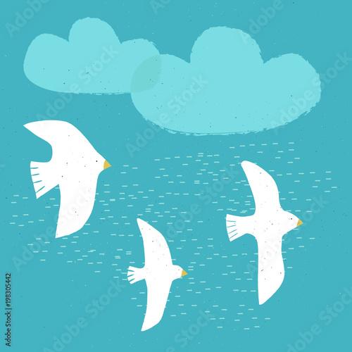 3 vector Birds on blue sky