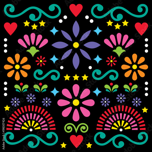 Mexican folk art vector pattern, colorful design with flowers greeting card inspired by traditional designs from Mexico