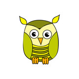 vector, isolated, cartoon owl, character