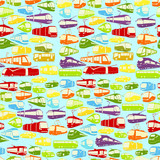 Seamless vector background with city transport in various colors
