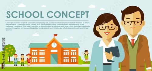 Education concept with teachers in flat style. Young teacher man and woman, school building and children.