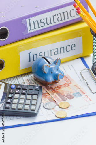 Clean insurance form, piggy bank, calculator and money - 198313886