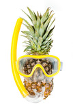 Pineapple in a snorkeling mask - 198314658