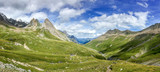 Panorama of the Alps in summer. View on the Seigne pass (col de la seigne) in Italy during Tour du Mont Blanc hike