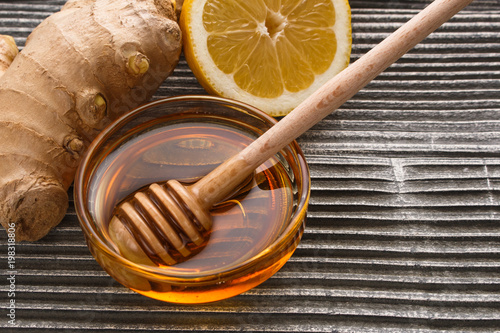Ginger root on a gray wooden background