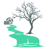 Vector illustration with river flow, mill and tree.