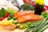 Fresh salmon steak and vegetables