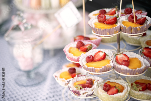 Fotobehang Macarons Outdoor wedding candy bar with french desserts