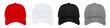 Blank baseball cap 4 color set on white background