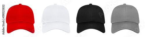 Puste baseball cap 4 kolor ustawiony na białym tle
