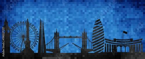 Wektorowa miasto linii horyzontu sylwetka - ilustracja, mozaiki miasto w grunge błękitnym tle, miasto Londyn